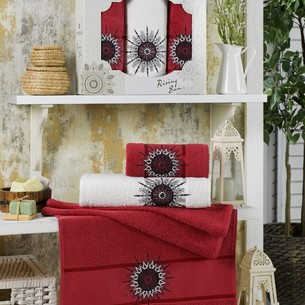 Подарочный набор полотенец для ванной 50х90(2), 70х140(1) Merzuka RISING SUN хлопковая махра бордовый