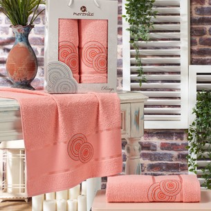 Подарочный набор полотенец для ванной 50х90, 70х140 Merzuka RINGS хлопковая махра персиковый