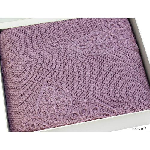 Вязаный плед-покрывало Grazie Home ALEGRA лиловый 180х240, фото, фотография