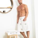 Набор для сауны мужской Tivolyo home MARINE хлопковая махра кремовый S/M, фото, фотография