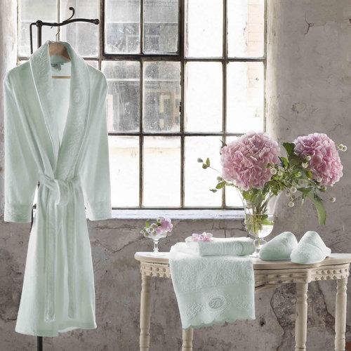 Подарочный набор с халатом Tivolyo Home ANTOINETTE хлопковая махра бирюзовый L/XL, фото, фотография