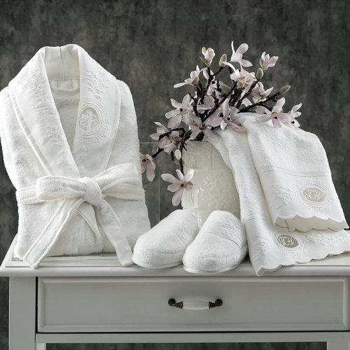 Подарочный набор с халатом Tivolyo Home ANTOINETTE хлопковая махра кремовый L/XL, фото, фотография