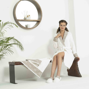 Подарочный набор с халатом Tivolyo Home COCO CHANEL бамбуковая махра бежевый M
