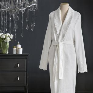 Халат женский с полотенцем Tivolyo Home REGINA бамбуковая махра кремовый S/M