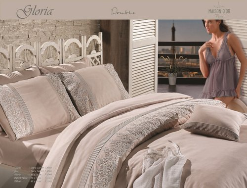 Постельное белье Maison Dor GLORIA хлопковый сатин бежевый евро, фото, фотография