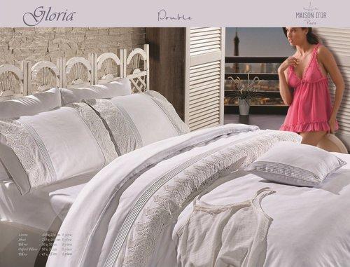 Постельное белье Maison Dor GLORIA хлопковый сатин белый евро, фото, фотография