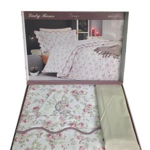 Постельное белье Maison Dor LADY ROSES хлопковый сатин бежевый 1,5 спальный