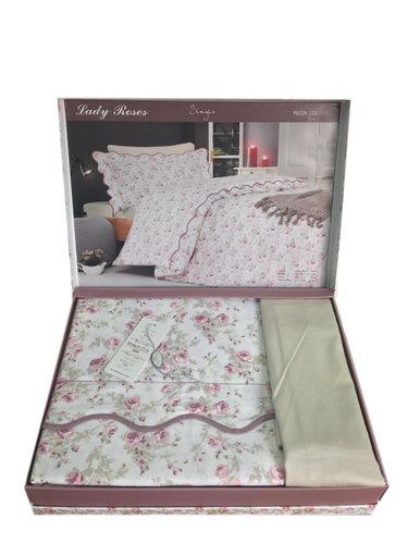 Постельное белье Maison Dor LADY ROSES хлопковый сатин бежевый 1,5 спальный, фото, фотография