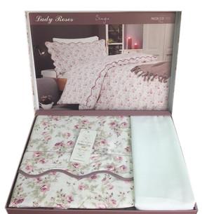 Постельное белье Maison Dor LADY ROSES хлопковый сатин белый 1,5 спальный