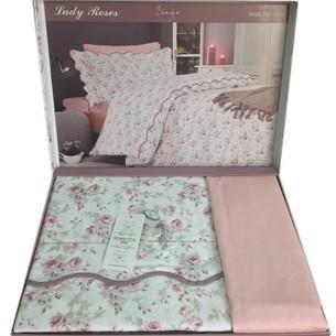 Постельное белье Maison Dor LADY ROSES хлопковый сатин грязно-розовый 1,5 спальный