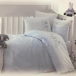 Детское постельное белье в кроватку Maison Dor LAVENDER EMBROIDERY хлопковый сатин голубой