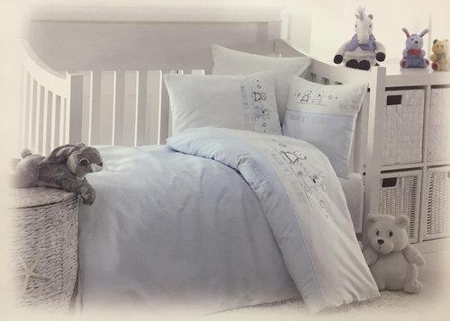 Детское постельное белье в кроватку Maison Dor LAVENDER EMBROIDERY хлопковый сатин голубой, фото, фотография