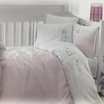 Детское постельное белье в кроватку Maison Dor LAVENDER EMBROIDERY хлопковый сатин розовый, фото, фотография