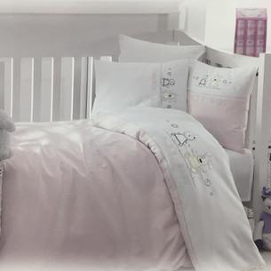 Детское постельное белье в кроватку Maison Dor LAVENDER EMBROIDERY хлопковый сатин розовый