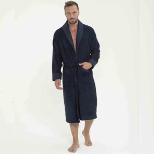 Халат мужской Tivolyo Home MODAL бамбуко-хлопковая махра тёмно-синий 2XL