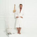 Халат мужской Tivolyo Home MODAL бамбуко-хлопковая махра кремовый XL, фото, фотография