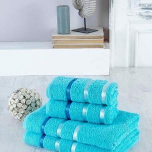 Набор полотенец для ванной EFOR хлопковая махра 50х90 2 шт., 70х140 2 шт. бирюзовый