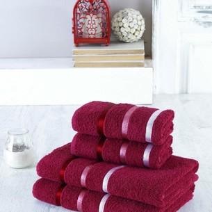 Набор полотенец для ванной EFOR хлопковая махра 50х90 2 шт., 70х140 2 шт. бордовый