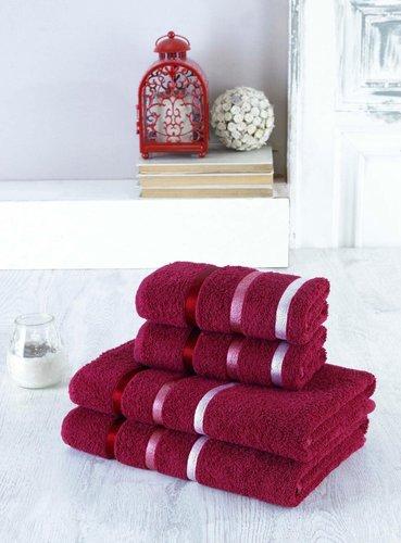 Набор полотенец для ванной EFOR хлопковая махра 50х90 2 шт., 70х140 2 шт. бордовый, фото, фотография