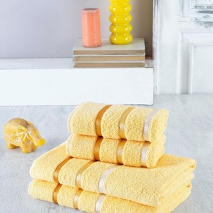 Набор полотенец для ванной EFOR хлопковая махра 50х90 2 шт., 70х140 2 шт. желтый
