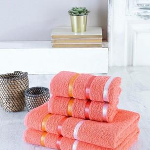 Набор полотенец для ванной EFOR хлопковая махра 50х90 2 шт., 70х140 2 шт. оранжевый