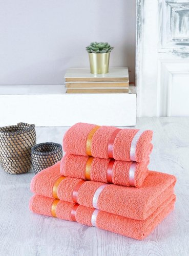 Набор полотенец для ванной EFOR хлопковая махра 50х90 2 шт., 70х140 2 шт. оранжевый, фото, фотография