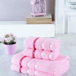 Набор полотенец для ванной EFOR хлопковая махра 50х90 2 шт., 70х140 2 шт. розовый