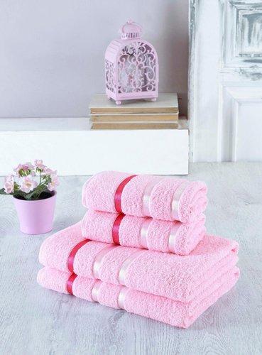 Набор полотенец для ванной EFOR хлопковая махра 50х90 2 шт., 70х140 2 шт. розовый, фото, фотография