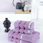 Набор полотенец для ванной EFOR хлопковая махра 50х90 2 шт., 70х140 2 шт. фиолетовый, фото, фотография