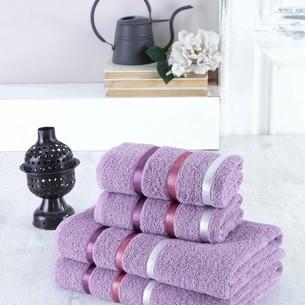 Набор полотенец для ванной EFOR хлопковая махра 50х90 2 шт., 70х140 2 шт. фиолетовый