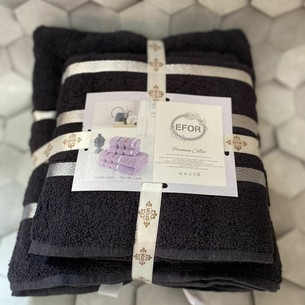 Набор полотенец для ванной EFOR хлопковая махра 50х90 2 шт., 70х140 2 шт. черный