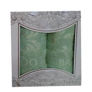 Подарочный набор полотенец для ванной 50х90, 70х140 Luzz OTTOMAN бамбуковая махра зеленый