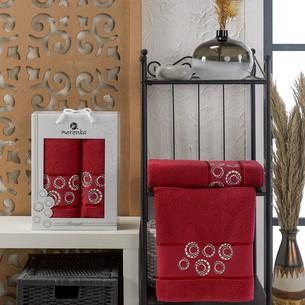 Подарочный набор полотенец для ванной 50х90, 70х140 Merzuka BANGLE хлопковая махра бордовый