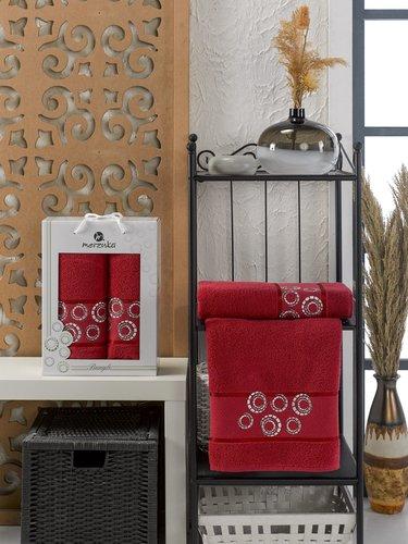 Подарочный набор полотенец для ванной 50х90, 70х140 Merzuka BANGLE хлопковая махра бордовый, фото, фотография