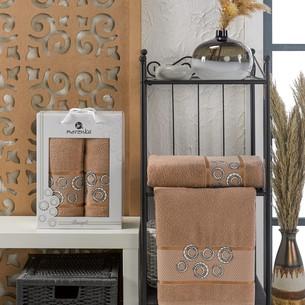 Подарочный набор полотенец для ванной 50х90, 70х140 Merzuka BANGLE хлопковая махра коричневый