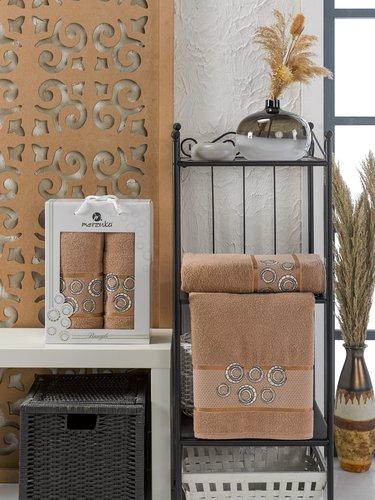 Подарочный набор полотенец для ванной 50х90, 70х140 Merzuka BANGLE хлопковая махра коричневый, фото, фотография