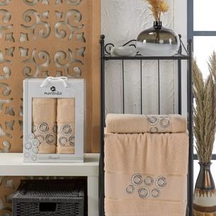 Подарочный набор полотенец для ванной 50х90, 70х140 Merzuka BANGLE хлопковая махра бежевый