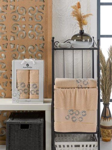 Подарочный набор полотенец для ванной 50х90, 70х140 Merzuka BANGLE хлопковая махра бежевый, фото, фотография