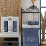 Подарочный набор полотенец для ванной 50х90(2), 70х140(1) Merzuka BANGLE хлопковая махра темно-голубой, фото, фотография