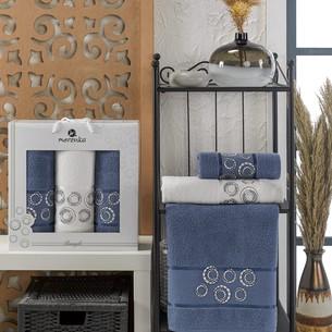 Подарочный набор полотенец для ванной 50х90(2), 70х140(1) Merzuka BANGLE хлопковая махра темно-голубой