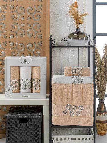 Подарочный набор полотенец для ванной 50х90(2), 70х140(1) Merzuka BANGLE хлопковая махра бежевый, фото, фотография