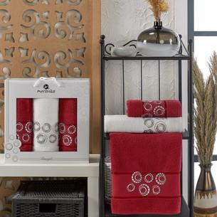 Подарочный набор полотенец для ванной 50х90(2), 70х140(1) Merzuka BANGLE хлопковая махра бордовый