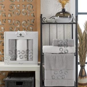 Подарочный набор полотенец для ванной 50х90(2), 70х140(1) Merzuka BANGLE хлопковая махра серый