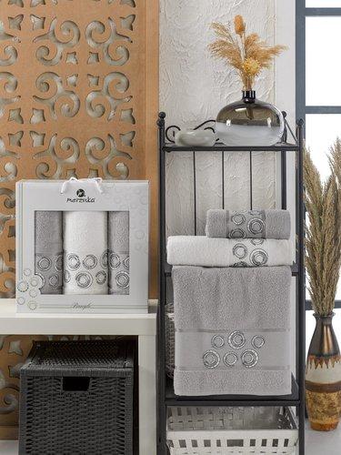 Подарочный набор полотенец для ванной 50х90(2), 70х140(1) Merzuka BANGLE хлопковая махра серый, фото, фотография