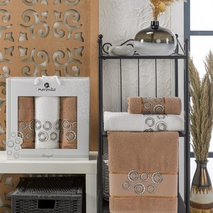 Подарочный набор полотенец для ванной 50х90(2), 70х140(1) Merzuka BANGLE хлопковая махра коричневый