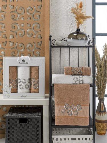 Подарочный набор полотенец для ванной 50х90(2), 70х140(1) Merzuka BANGLE хлопковая махра коричневый, фото, фотография