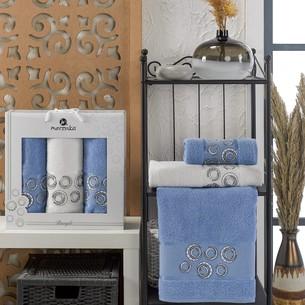 Подарочный набор полотенец для ванной 50х90(2), 70х140(1) Merzuka BANGLE хлопковая махра голубой