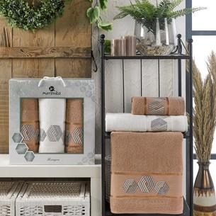 Подарочный набор полотенец для ванной 50х90(2), 70х140(1) Merzuka HEXAGON хлопковая махра коричневый