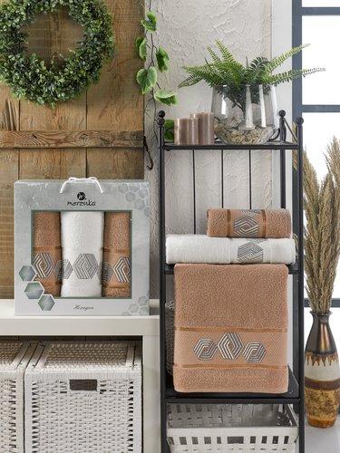 Подарочный набор полотенец для ванной 50х90(2), 70х140(1) Merzuka HEXAGON хлопковая махра коричневый, фото, фотография