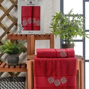 Подарочный набор полотенец для ванной 50х90, 70х140 Merzuka MATRIX хлопковая махра бордовый